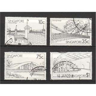 SINGAPORE 1985 BRIDGES OF SINGAPORE COMP. SET OF 4 STAMPS IN FINE USED CONDITION