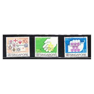 SINGAPORE 1985 INTL YOUTH YEAR COMP. SET OF 3 STAMPS SC#477-479 IN FINE USED CONDITION