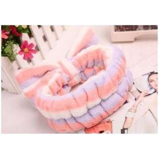 Handuk Kepala / Rambut tipe bando untuk Cuci Muka / Mandi [BHR010] - Pink Putih