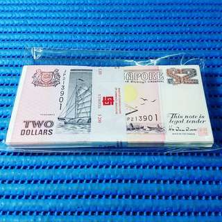 Singapore Ship Series $2 Note JP 213901-214000 Run Stack Dollar Banknote Currency HTT