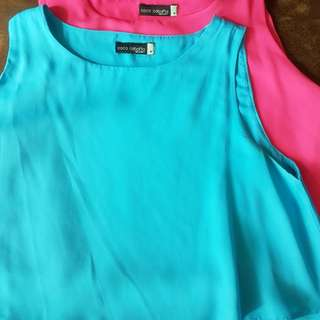 Pink and blue crop tops