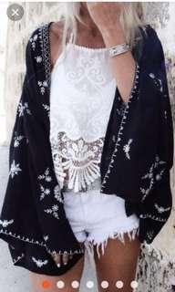 Po | boho kimono sleeves outerwear throw over cover up shrug