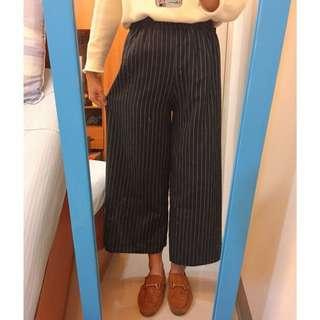 深藍條紋寬褲