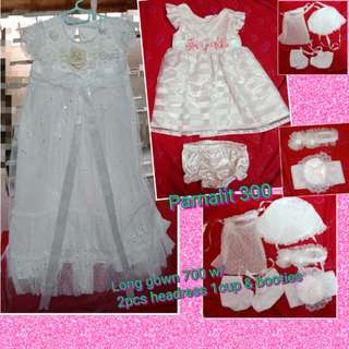 long gown baptismal w/ 2pcs headress,1headcover & booties