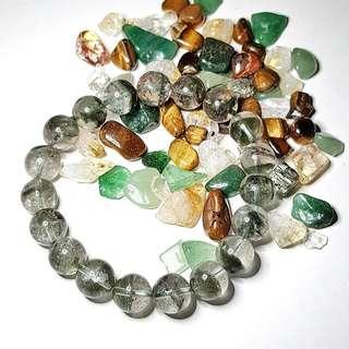 Green Phantom Quartz Crystal Bracelet Beads 11mm 绿幽灵白水晶 for the Year of the Dog, green phantom is for those born in the year of the rat, ox, tiger, rabbit, dragon, monkey