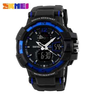 SKMEI AD1040 BLUE WITH BLACK RUBBER STRAP WATCH FOR MEN - COD FREE SHIPPING