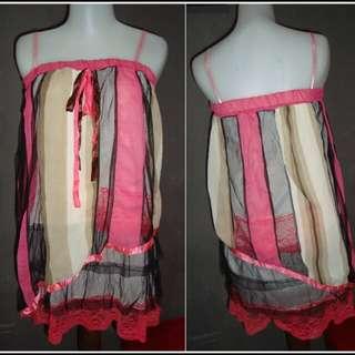 2nd Like New!! Tank Top Rempel / layer top tali Pink kombinasi