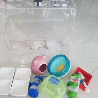 Hamster Accessories and acrylic cage fit for 2 hamster