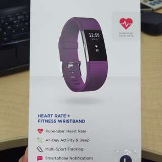 Fitbit Charge 2 heart rate + fitness wristband PLUM COLOUR