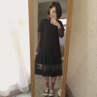 黑色短袖長洋裝