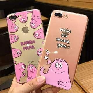 手機殼IPhone6/7/8/plus(沒有X) : 韓國卡通巴巴爸爸全包邊透明軟殼