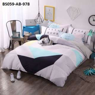 [978] 4pcs Cotton BedSheet AB [Super Single/Queen/King] #BS059 #ezwayenterprise #FreeWMPosatge #Onesize