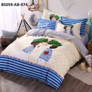 [974] 4pcs Cotton BedSheet AB [Super Single/Queen/King] #BS059 #ezwayenterprise #FreeWMPosatge #Onesize