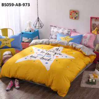 [973] 4pcs Cotton BedSheet AB [Super Single/Queen/King] #BS059 #ezwayenterprise #FreeWMPosatge #Onesize