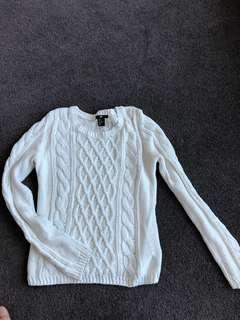 H&M white knit sweater