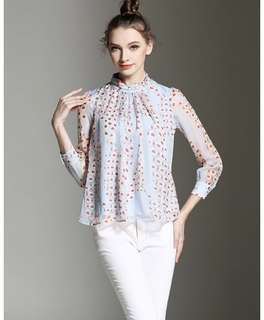 PO - Sweet Stand Collar Long Sleeve Blouse ( S-XXL)