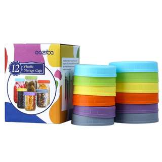 Aozita 12 Piece Colored Plastic Mason Jar Lids for Ball and More