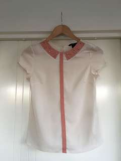H&M Jewelled Collar Blouse Top / Casual / workwear / Corporate wear
