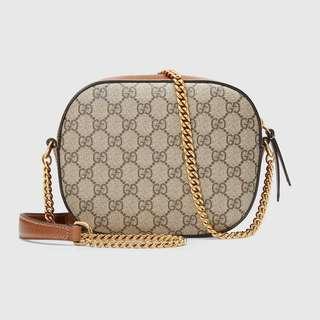 Gucci 2018 GG supreme mini chain bag (new&real ) 啡色皮經典