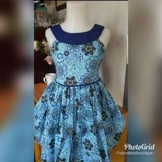 Printed Floral Blue Dress