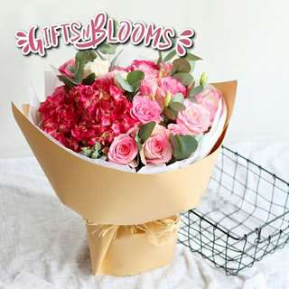 Fresh Flower Bouquet Anniversary Birthday Flower Gifts Graduation Roses Sunfowers Baby Breath -  326A2