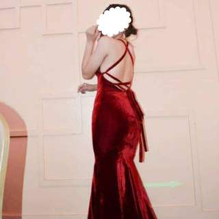 Maroon Backless Evening Formal Long Gown For rent