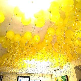Free floating helium balloons surprise birthday