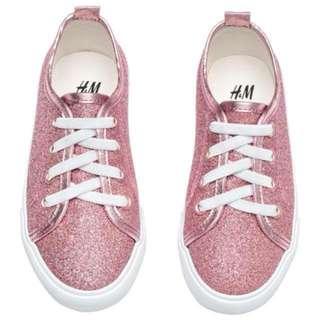 H&M 全新 小女孩粉紅亮粉運動鞋