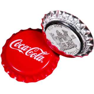 Fiji Coca-Cola Bottle Cap-Shaped 6g Silver Proof $1 Coin 2018 with box