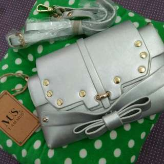 sling bag silver new