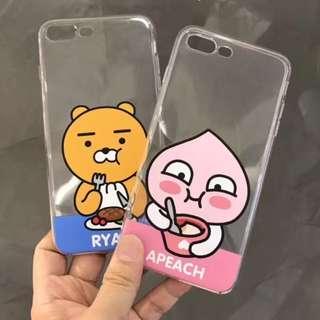 手機殼IPhone6/7/8/plus(沒有X) : 韓國卡通RYAN小熊桃全包邊透明軟殼
