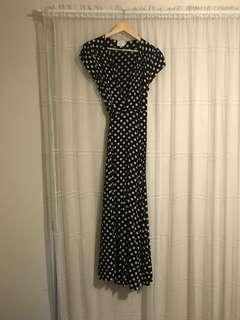 Full length tie up spot dress