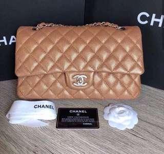 Chanel classic medium gold caviar with ghw