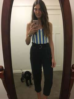 Cropped high waisted linen trousers