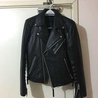 H&M leather biker jacket 真皮皮褸 牛皮