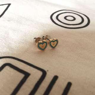 (全新)Agnes B Gold Heart Earrings 金色配藍綠色心形耳環