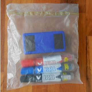 Set of 3 Refillable Whiteboard Markers and 1 Magnetic Duster x 2: $3 each