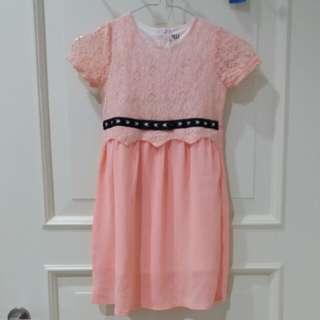 Peach brukat dress 5-6y
