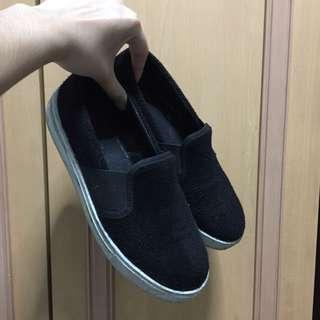Topshop black faux fur slip on shoes