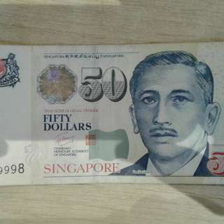 $50/- note with nice nos. 3CN999998