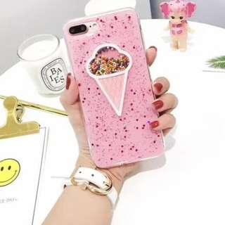 手機殼IPhone6/7/8/plus(沒有X) : 粉色ICE-CREAM閃粉流動珠子全包邊軟殼