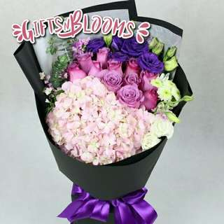 Fresh Flower Bouquet Anniversary Birthday Flower Gifts Graduation Roses Sunfowers Baby Breath -  1AAB6
