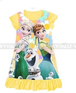 Frozen Dress Elsa Anna princess pyjamas dress