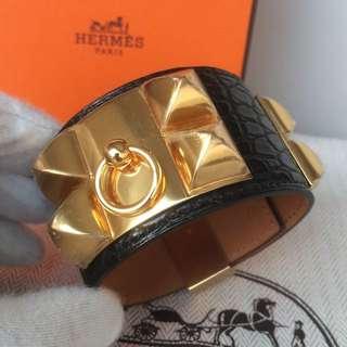 全新愛馬仕 經典手額 手鐲 手帶 手繩 鱷魚皮 黑色 金扣 Cdc New Bracelet