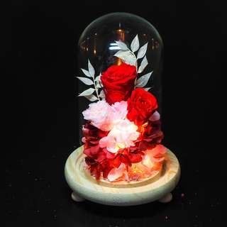 Red Preserved Rose Dome - Scarlet