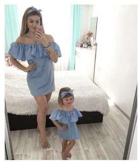Off Shoulder Mini Dress - Blue