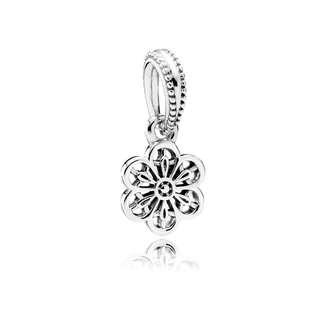 Pandora Floral Daisy Lace Dangle Charm Silver #791835