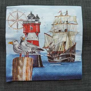 Napkin for decoupage ( sea, ship, lighthouse and seagulls)