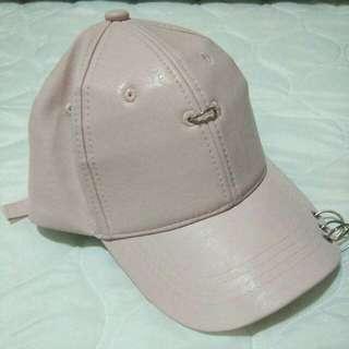 Faux leather pink Korean cap ring