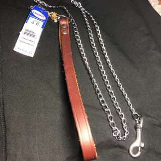 OmniPet Chain Dog Leash With Leather Handle